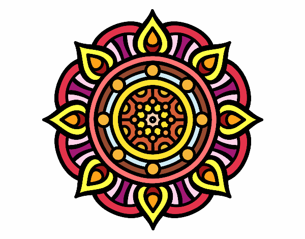 Dibujo Mandala puntos de fuego pintado por Ytap