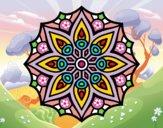 Dibujo Mandala simetría sencilla pintado por cuquina