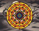 Dibujo Mandala sistema solar pintado por cuquina