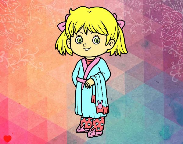 Dibujo Niña con pijama pintado por Osiita
