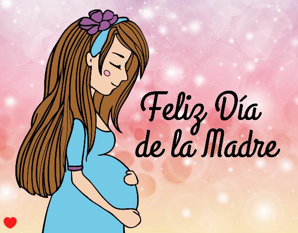 Dibujo Mamá embarazada en el día de la madre pintado por Osiita