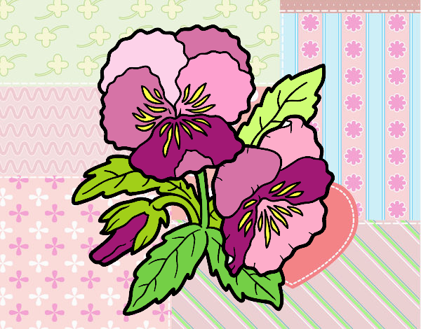 Dibujo Flores de pensamiento pintado por MARTHAISA
