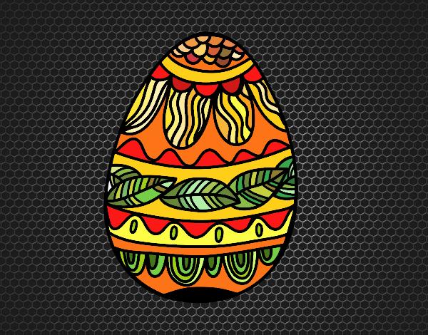 Dibujo Huevo de Pascua estampado vegetal pintado por MARTHAISA