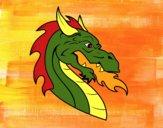 Dibujo Cabeza de dragón europeo pintado por Joer