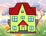 Casa de campo con balcones
