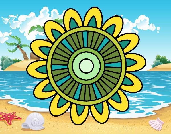 Dibujo Mandala solar pintado por Ytap