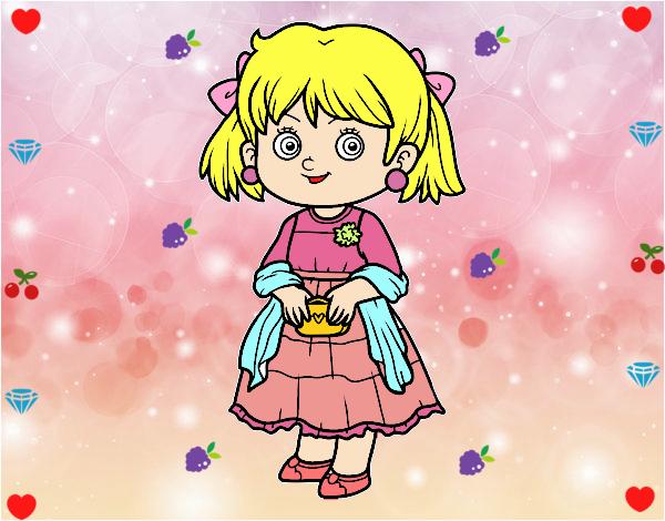 Dibujo Niña con vestido elegante pintado por marlonyzuu