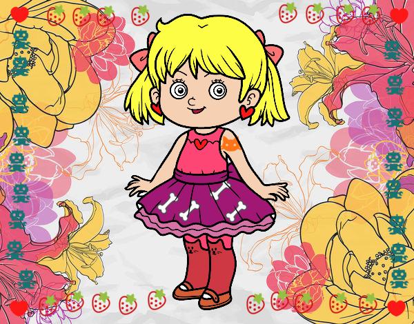 Dibujo Niña con vestido moderno pintado por marlonyzuu