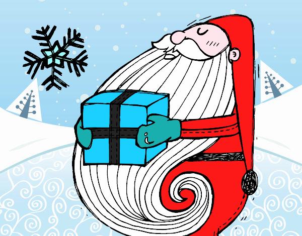Dibujo Santa con regalo pintado por Ytap