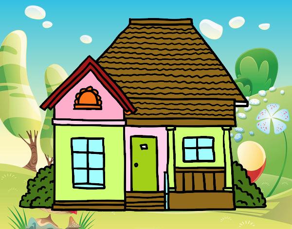 Dibujos Para Colorear De Casas De Campo: Dibujo De Casa De Campo Pintado Por En Dibujos.net El Día