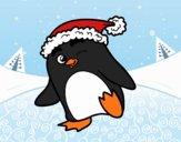 Dibujo Pingüino con gorro de Navidad pintado por Joer
