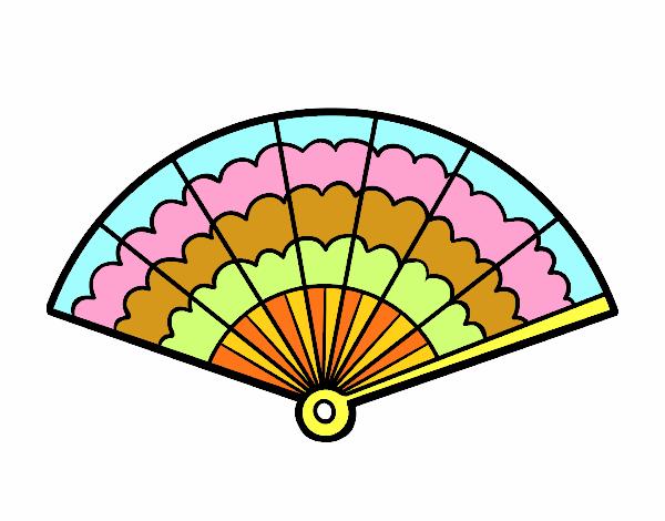 Dibujo de abanico de colores pintado por en el for Abanico de colores