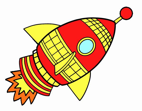 Cohete De Astronauta Y Vintage De Dibujos Animados: Dibujo De Cohete Espacial Pintado Por En Dibujos.net El