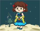 Dibujo Niña con vestido elegante pintado por mariac127
