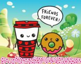 Dibujo Café y donut pintado por NIKCY