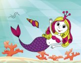 Dibujo Sirena saludando pintado por NIKCY