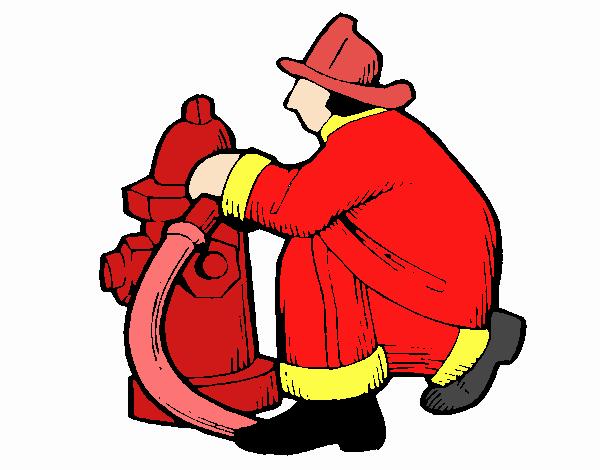 Dibujo De Bombero En La Boca De Incendios Pintado Por En