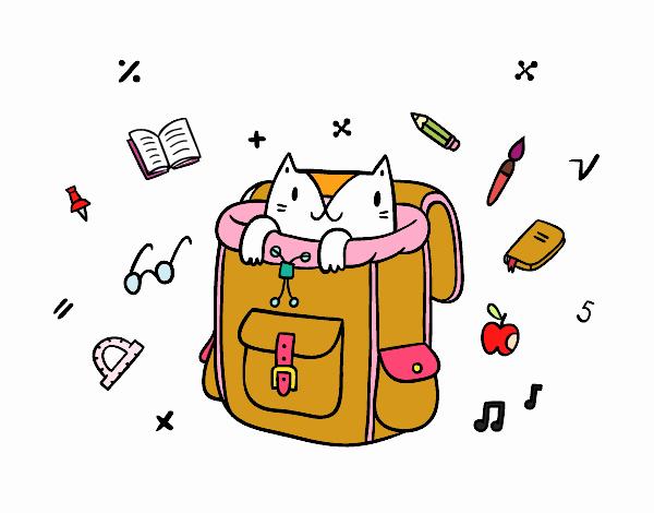 Dibujo Gato dentro de una mochila pintado por PimPolloAr