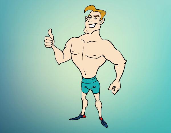 Hombre en bañador