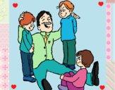 Papa con sus 3 hijos