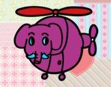 Helióptero con elefante
