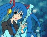 Dibujo Miku con guitarra pintado por azetick