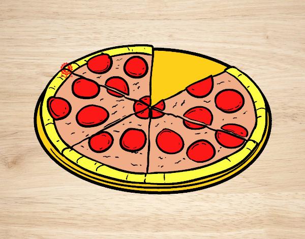 Dibujo Pizza italiana pintado por carrusel