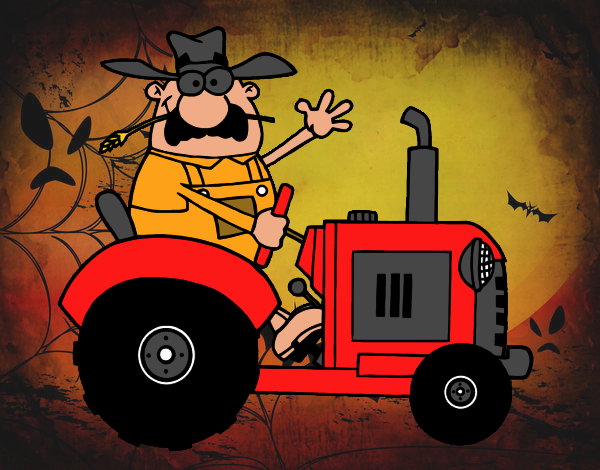 Dibujo Granjero en su tractor pintado por marcostano