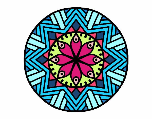 Dibujo Mandala flor de bambú pintado por fer046