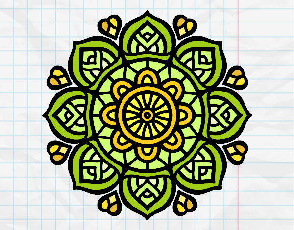 Dibujo Mandala para la concentración mental pintado por mirperla