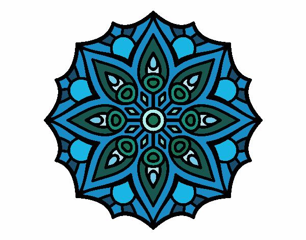 Dibujo Mandala simetría sencilla pintado por fer046
