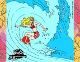 Barbie practicando surf