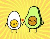 Dibujo Huevo y aguacate pintado por JuliBanana