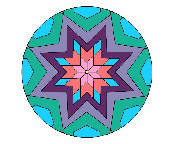 Dibujo Mandala mosaico estrella pintado por fer046