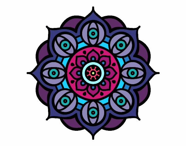 Dibujo Mandala ojos abiertos pintado por fer046