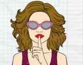 Dibujo Chica con gafas de sol pintado por sheyla13