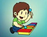 Dibujo Niño con xilófono pintado por ceninsa