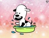 Dibujo Un perrito en la bañera pintado por Michellinh