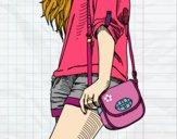 Dibujo Chica con bolso pintado por sheyla1