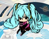 Dibujo Miku Chibi vocaloid pintado por sheyla1