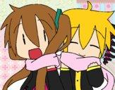 Dibujo Miku y Len con bufanda pintado por Joddy