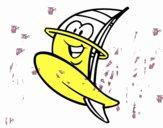 Tabla de windsurf feliz