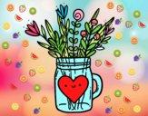 Dibujo Bote con flores silvestres y un corazón pintado por Ane1021