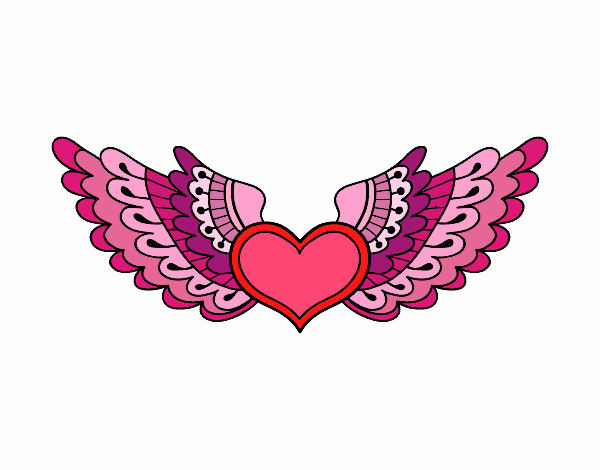 Dibujo Corazón alado pintado por emilili