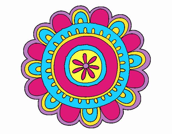 Dibujo Mandala alegre pintado por emilili