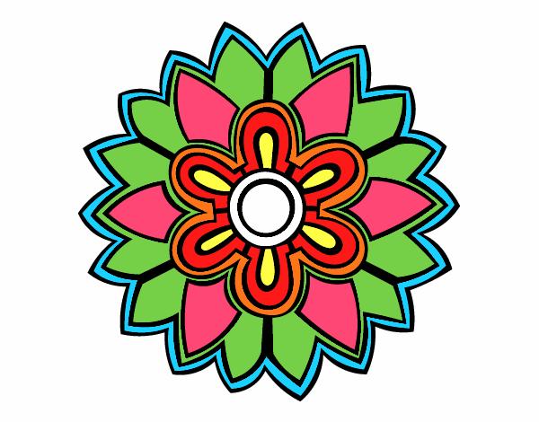 Dibujo Mándala con forma de flor weiss pintado por emilili
