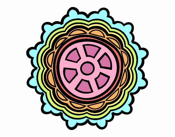 Dibujo Mándala con forma de timón pintado por emilili