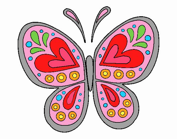 Dibujo Mandala mariposa pintado por emilili