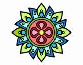 Dibujo Mandala flor sencilla pintado por bandin