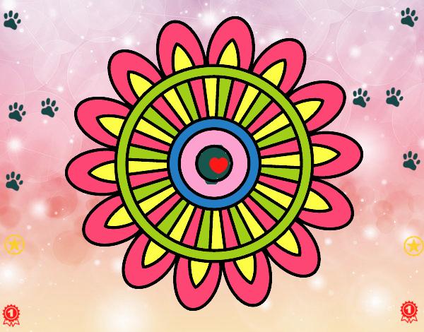 Dibujo Mandala solar pintado por carrusel